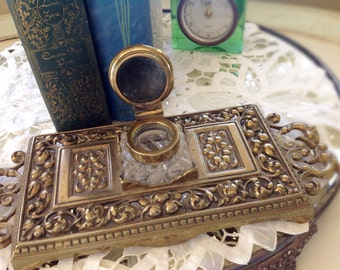 Vintage Brass Inkwell, Glass Ink Dip, Ornate Hollywod Regency