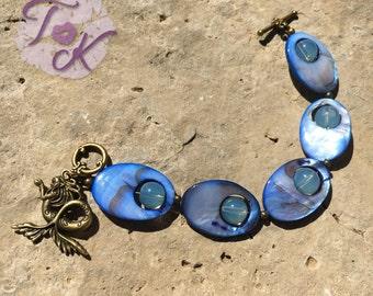 Mermaid Bracelet, Mermaid Charm Bracelet, Mermaid Charm, Mermaid Jewellery, Blue Mermaid Bracelet, Mother of Pearl Bracelet