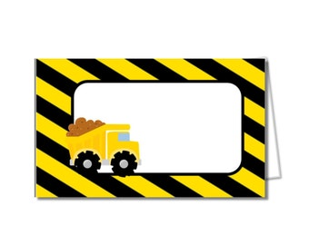 DIY construction food tents, construction food labels, dump truck party decor, outdoor party, trucks, boy birthday