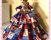 Black Doll, USA Patriotic Inspirational Black Art Doll, African American Art Doll, Red, White and Blue, Virtuous Woman,