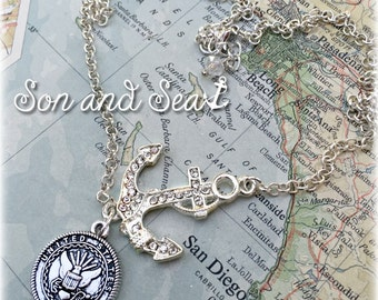 US Navy sideways anchor necklace by Son and Sea FREE US shipping