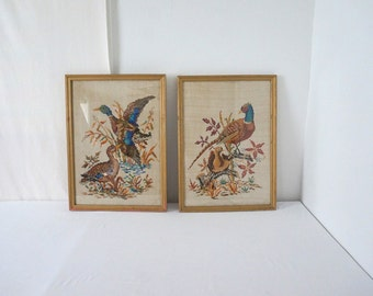 Pair of Large Vintage Framed Cross Stitch Needlepoint Mallard and Pheasant 1949