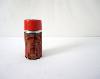Vintage Alladin Thermos Insulated Red Plaid Travel Bottle for Coffee or Soup