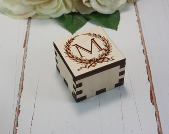 Ring Box wedding ring box personalized ring box Wooden wedding ring box August Special
