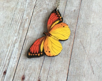 Red And Yellow Butterfly Necklace