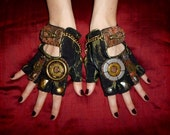 """Women's Steampunk """"MAD HATTER"""" Gloves- Moonhoar, Comic Con, Apocalypse, Mad Max, Road Warrior, Burning Man, Alice Through the Looking Glass"""