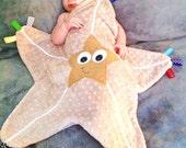 Starfish Baby Tag Blanket Lovey Pacifier Toy Keepsake Buddy