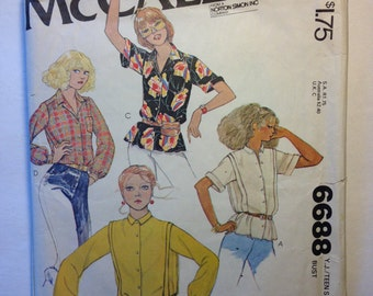McCalls 6688 Sewing Pattern 70s Young Junior and Teens Blouses Size 11-12