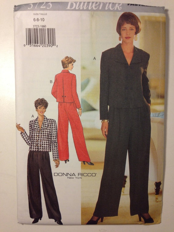 Butterick 3723 Sewing Pattern 90s UNCUT Misses Top and Pants by Donna Ricco Size 6-8-10