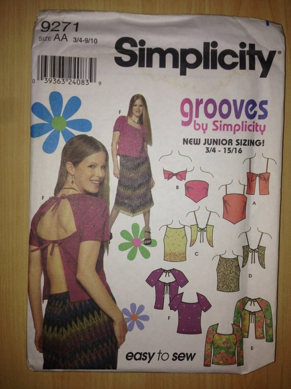 Simplicity 9271 Sewing Pattern 2000 Grooves Eaasy to Sew Uncut Juniors Tops Size 3/4-9/10
