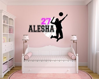 volleyball wall decal personalized name volleyball volleyball decor volleyball team player decal - Volleyball Bedroom Decor