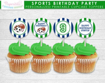 All Star Sports Theme Birthday Party Cupcake Toppers | Green & Blue | Personalized | Printable DIY Digital File