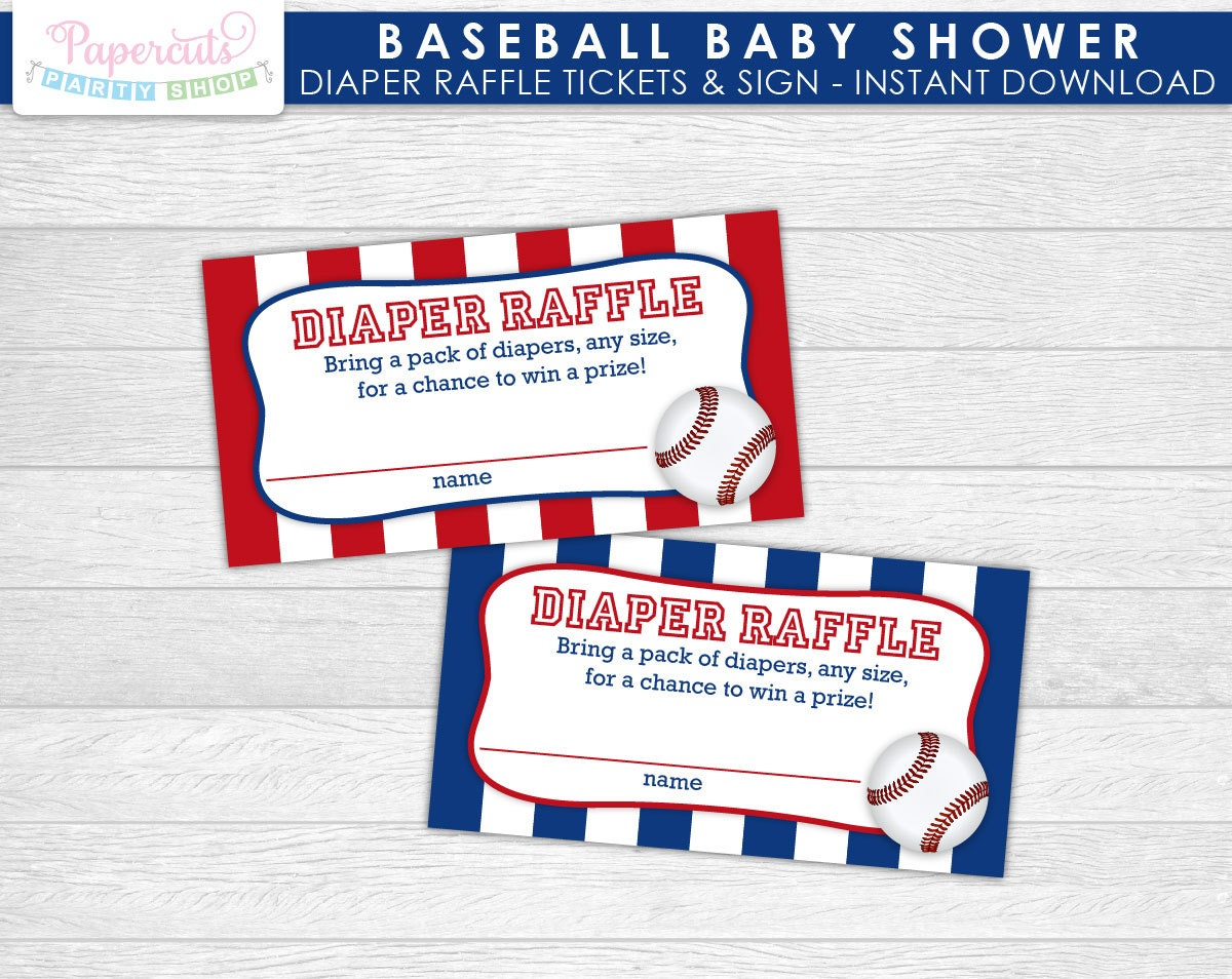 baseball theme baby shower diaper raffle tickets w sign blue