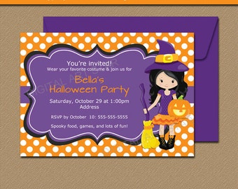 Cute Halloween Invitations, Halloween Invites, Halloween Printables, Kids Halloween Birthday Party Invitations, Girl Witch Invites WDS