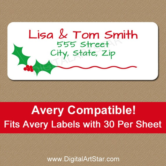 Christmas Address Labels Printable Christmas By Digitalartstar