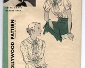 "1930's Hollywood Blouse with Double Collar Pattern - Bust 36"" - No. 1087 - Bette Davis"