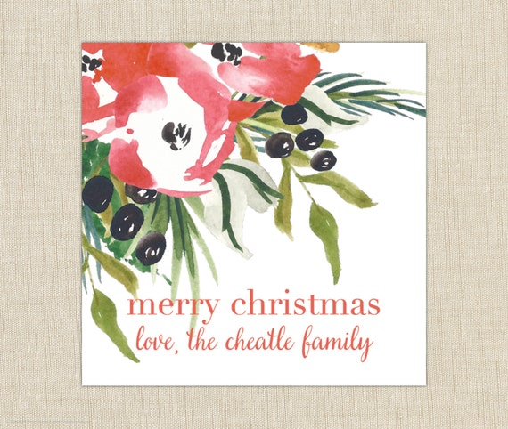 personalized gift tag- label- sticker. Christmas floral gift label. set of 25