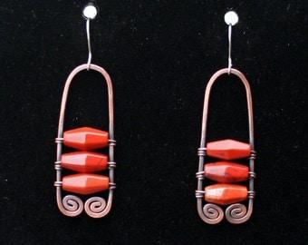 Red jasper and copper earrings
