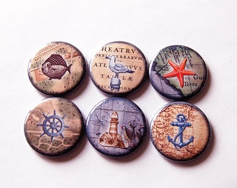 Nautical Magnets, Magnets, Magnet set, Fridge Magnets, button magnet, Kitchen Magnets, Beach Magnets, Seaside Magnets, Fathers Day (5635)