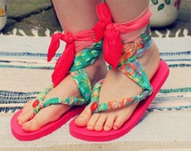 Bohemian Sandals Fabric Flip Flops Size US 7/8 | UK 4/5 | EU 37/38 Embroidered Boho Hippie Recycled Upcycled Eco Friendly Footwear Ooak