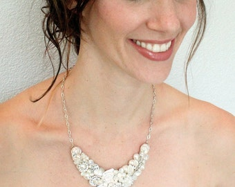 Bridal Statement Necklace- Vintage Inspired Necklace-Off White Bib Necklace-Lightest Ivory Bridal Necklace-Brass Boheme-Bridal Statement Bib