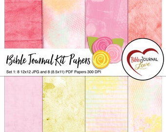 Bible Journal Kit Papers Set 1 : 8 Art Journaling Watercolor Background Papers in Pink and Yellow matching Bible Journal Art