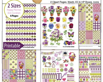 Pansies Printable Stickers / 6 Pdf Clip Art, Washi, HP & EC Boxes, 300 Icons/  Purple, Green