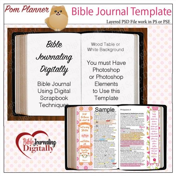 Layered Template for Bible Journaling Digitally with Photoshop or Photoshop Elements PSD File