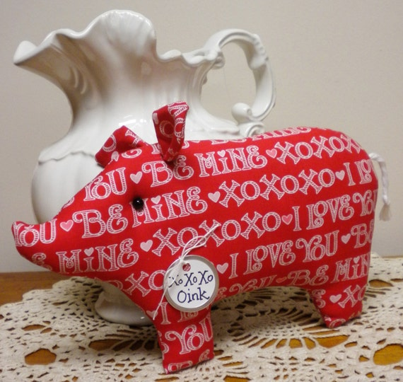 Valentine's Day Decor Pig Shelf Sitter, Valentine Graffiti Print Fabric Pig Made To Order, Primitive Pig Pillow Tuck