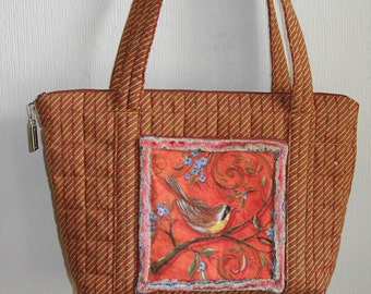 Quilted purse, brown stripe, with chenille trimmed bird print pockets by Florence