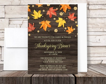 Thanksgiving Dinner Invitations - Rustic Falling Leaves with Gold Glitter design on Brown Wood for Autumn or Fall - Printed Invitations