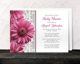 Rustic Pink Gerbera Daisy Baby Shower Invitations