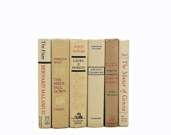 Antique Beige Decorative Books, Vintage Book Set, Wedding  Decor Centerpiece, Book COllection, Brown Old Books, Home Design Instant Library