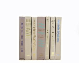 PEARL Beige Decorative Books, White Book Set, Wedding Decor Centerpiece, Books for Color, Tan Book Decor, VIntage Book Set, old books