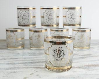 Vintage Las Vegas Showgirl, 22 carat gold gilded glassware by Culver (set of 8)