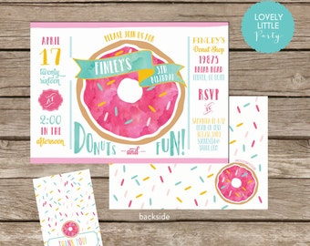 DIY Donut Birthday Invitation Kit - Invite AND Thank You Card included