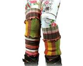 Long Leg Warmers, Striped Leg Warmers, Upcycled Clothing, Upcycled Leg Warmers, OOAK Leg Warmers, Handmade Leg Warmers, Boho Boot Socks