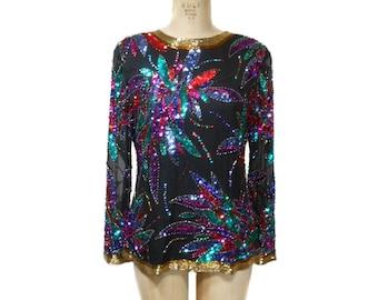 vintage 1980s OLEG CASSINI sequin blouse / silk / holiday festive NYE / floral fireworks novelty print / women's vintage top / size large