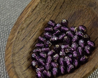 4mm beads 50pc Fire polished beads 4mm faceted beads Czech beads 4mm round beads glass beads Purple beads Silver Lined beads last