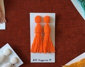 Beaded Tassel Clip-On Earrings Tangerine (made to order)