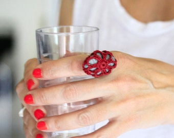 Crochet ring, statement ring, cocktail ring, burgundy ring, sea stone ring, big ring, one of a kind