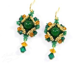 Emerald Treasure Earrings - Gold and Green Gorgeous Irish Inspired Dangle Earrings