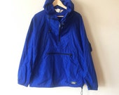Vintage LLBean Anorak Bright Blue Pull Over Hood Half-Zip Up Men's Medium