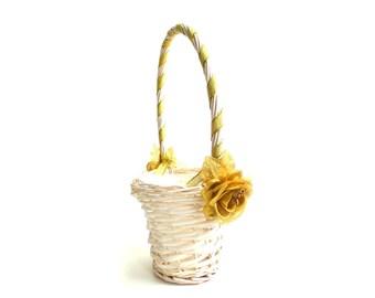 Flower Girl Basket - Ivory and Gold Flower Girl Basket - Gold Rose/Gold Ribbon Basket - Choose Your Flower, Choose Your Ribbon
