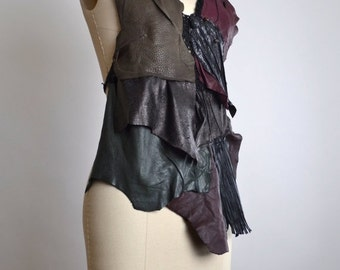 End Of Summer SALE Goth Leather Top - Leather Festival Top - Festival Clothing - Halter Tops - Burning Man Clothing - Black Leather Halter T