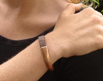 Vegan Jewelry, Vegan Leather Bracelet, Brown and Copper Cuff Bracelet, Eco Friendly Cruelty Free Portuguese Cork Jewelry, Cork Bracelet