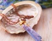 Purple Flame Aura Copper Electroformed Necklace