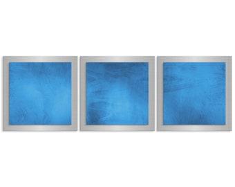 Minimalist Metal Wall Art 'Blue Essence' - 38x12 in. - Contemporary Urban Décor - Blue/Grey/White Masculine Art