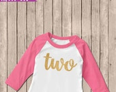 Gold Two Birthday Outfit, Iron On Decal, Second Birthday Iron On, 2nd Birthday Outfit, DIY Iron On, Two Shirt