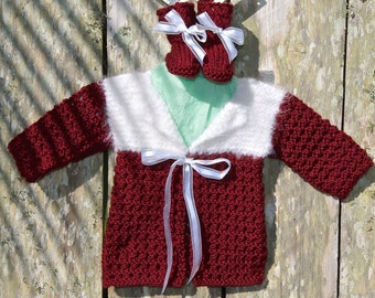 knit baby sweater, baby girl sweater, newborn sweater, holiday sweater, baby girl holiday sweater